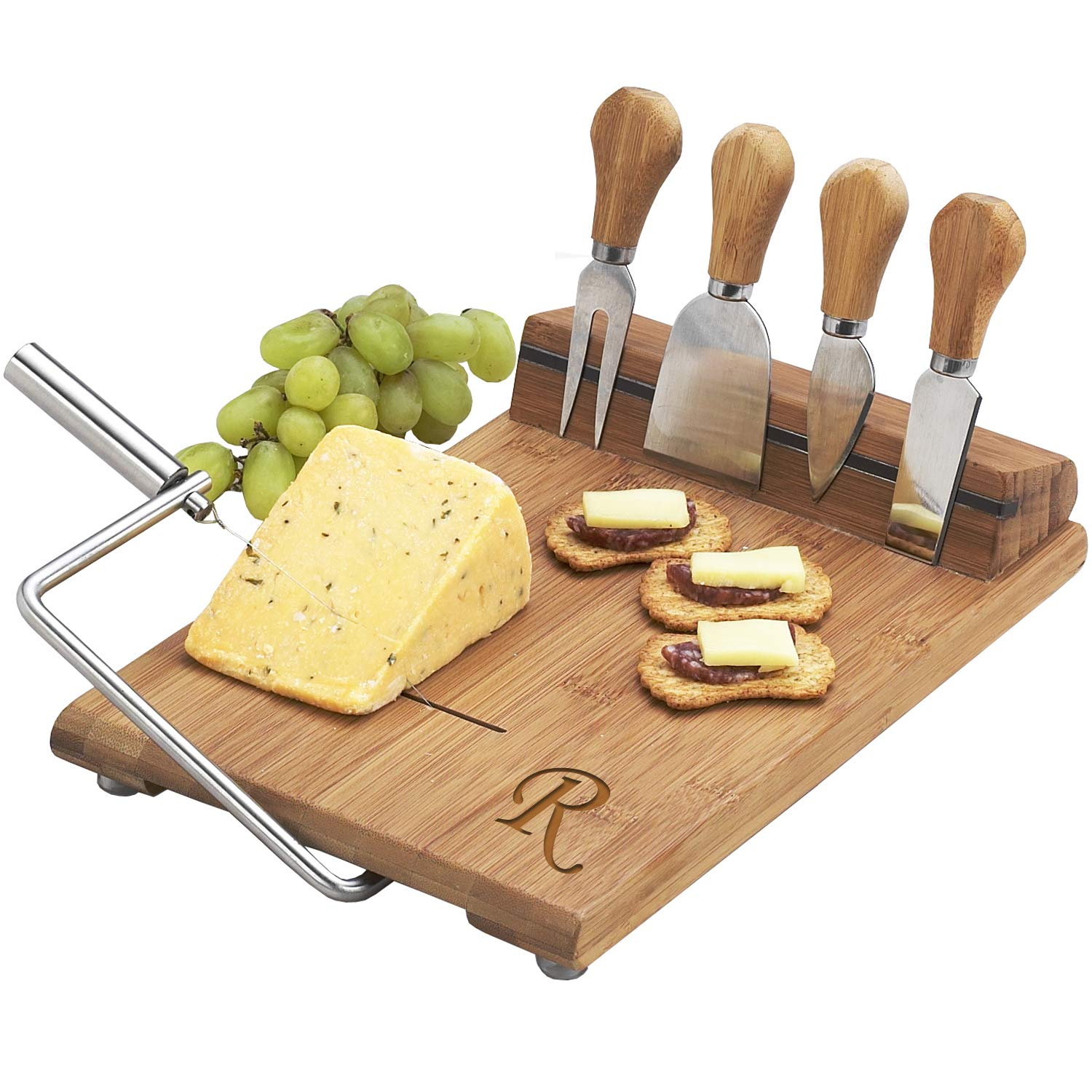 Picnic at Ascot Personalized Bamboo Board with Wire Cheese Slicer - 4 Stainless Steel Tools & Cheese Markers - 12'' x 8''- Designed & Quality checked in the USA - Letter R