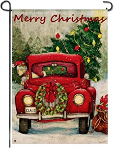 Merry Christmas Garden Flag Red Truck Tree Dog Wreath Yard Rustic Burlap Vintage Double Sided New Year Holiday Bunting Small Flag Banner Party Lawn Porch Outdoor Outside Decoration, 12x18 Inch