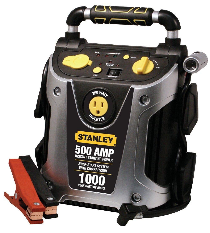 STANLEY J5CP Jump Starter Power Station: 1000 Peak/500 Instant Amps, 200W Inverter, 120 PSI Air Compressor
