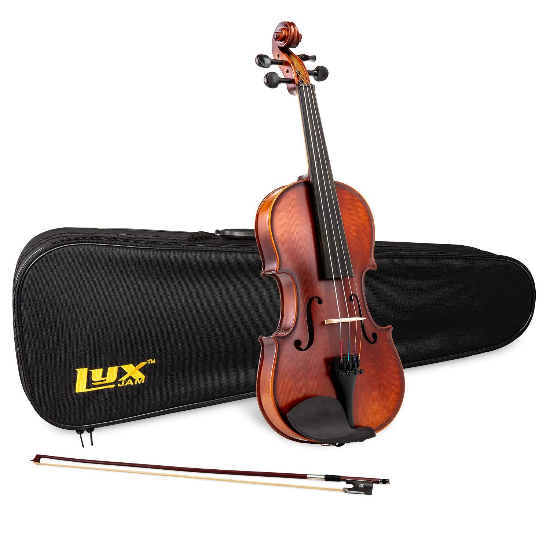 LyxJam Full Size Violin Set - 4/4 Solid Maple/Spruce Wood Beginner Violin Kit for Kids & Adults, Brazil Wood Bow, Rosin, Carry Case w/Shoulder Strap