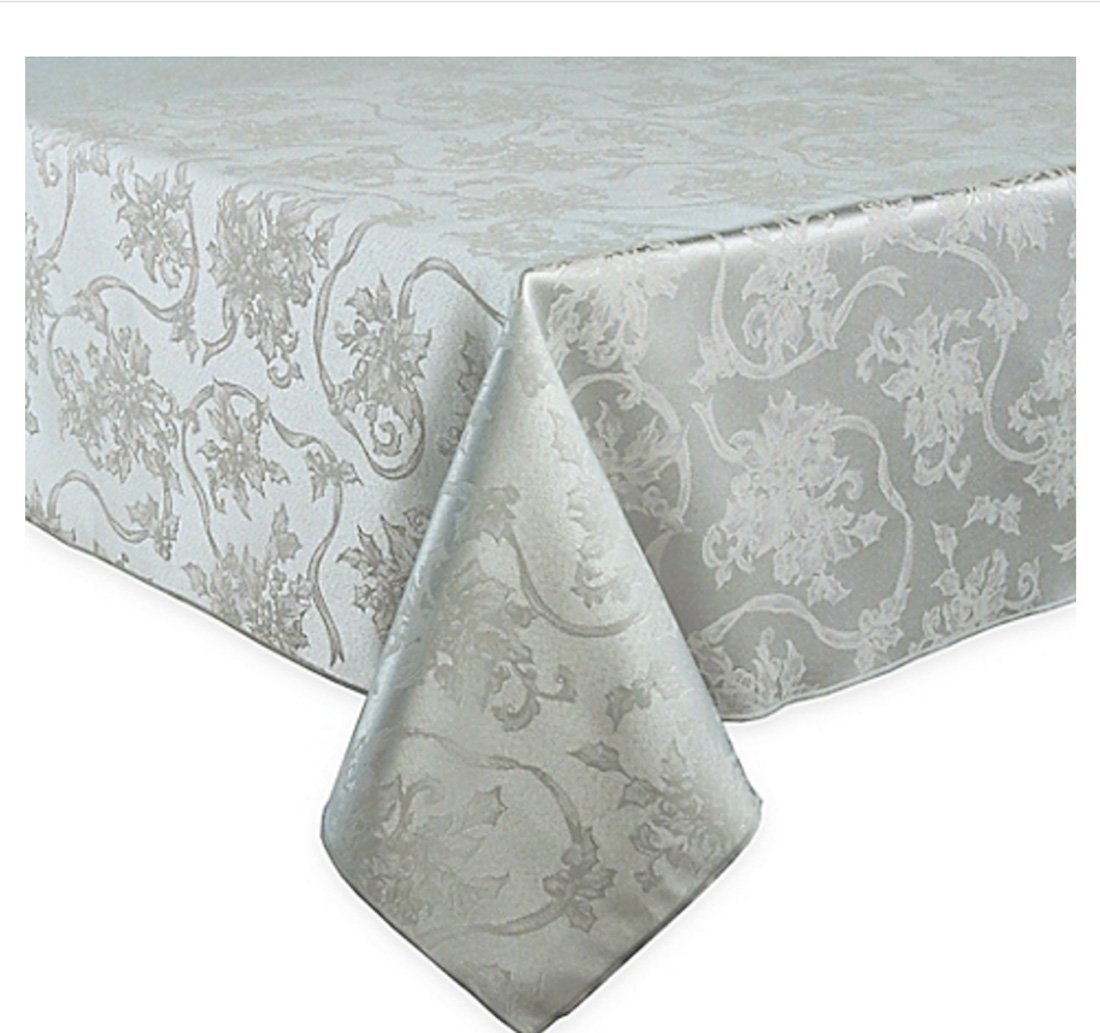 Christmas Ribbons Platinum Silver Damask Fabric Tablecloth | ChristmasTablescapeDecor.com