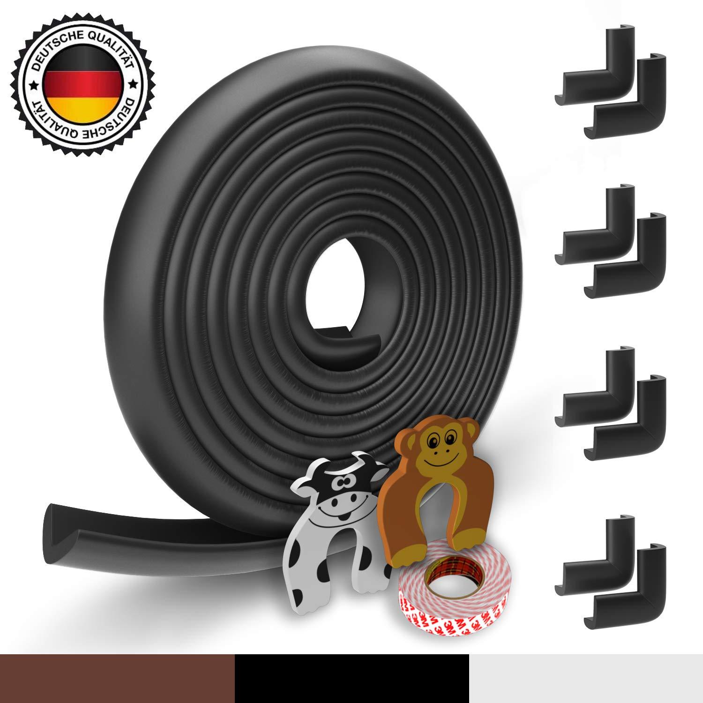 2x protecci/ón para dedos Protector de espuma para bordes del beb/é Original Hoffenbach/® Alemania 8x protector de esquinas blanco Negro marr/ón 6,2m protector de borde de mesa