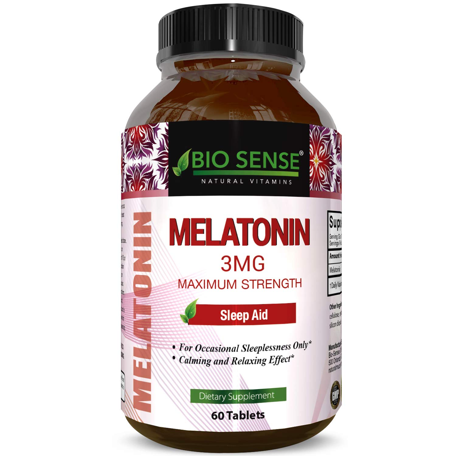 Amazon.com: Bio Sense Melatonin 3 mg Sleep Aid Pills Vitamins Tablets for Natural Calm Relaxation Stress Reduction for Men and Women 100% Pure Dietary ...