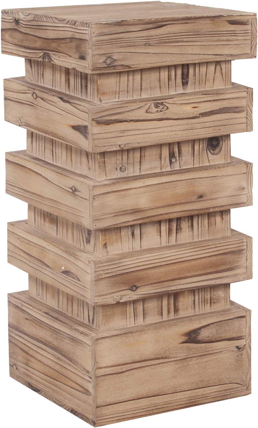 Howard Elliott Stepped Pedestal Accent Table, Medium, Natural Wood, 12 x 12 x 26 Inch