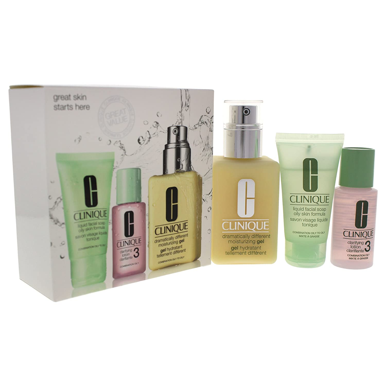 Clinique 3 Piece 3 Step Skin Care Introduction Kit for Unisex, Combination Oily Skin Type