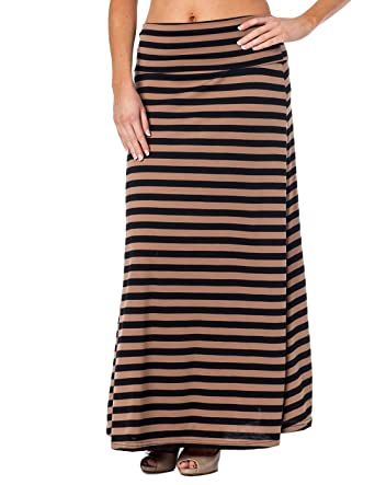 Alki'i High Waisted Floor Length Striped Maxi Skirt at Amazon ...
