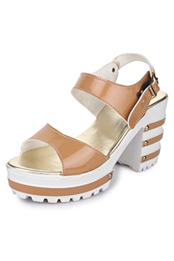 3e7ec3156 Funku Fashion Tan Block Heels Women s Fashion Sandals