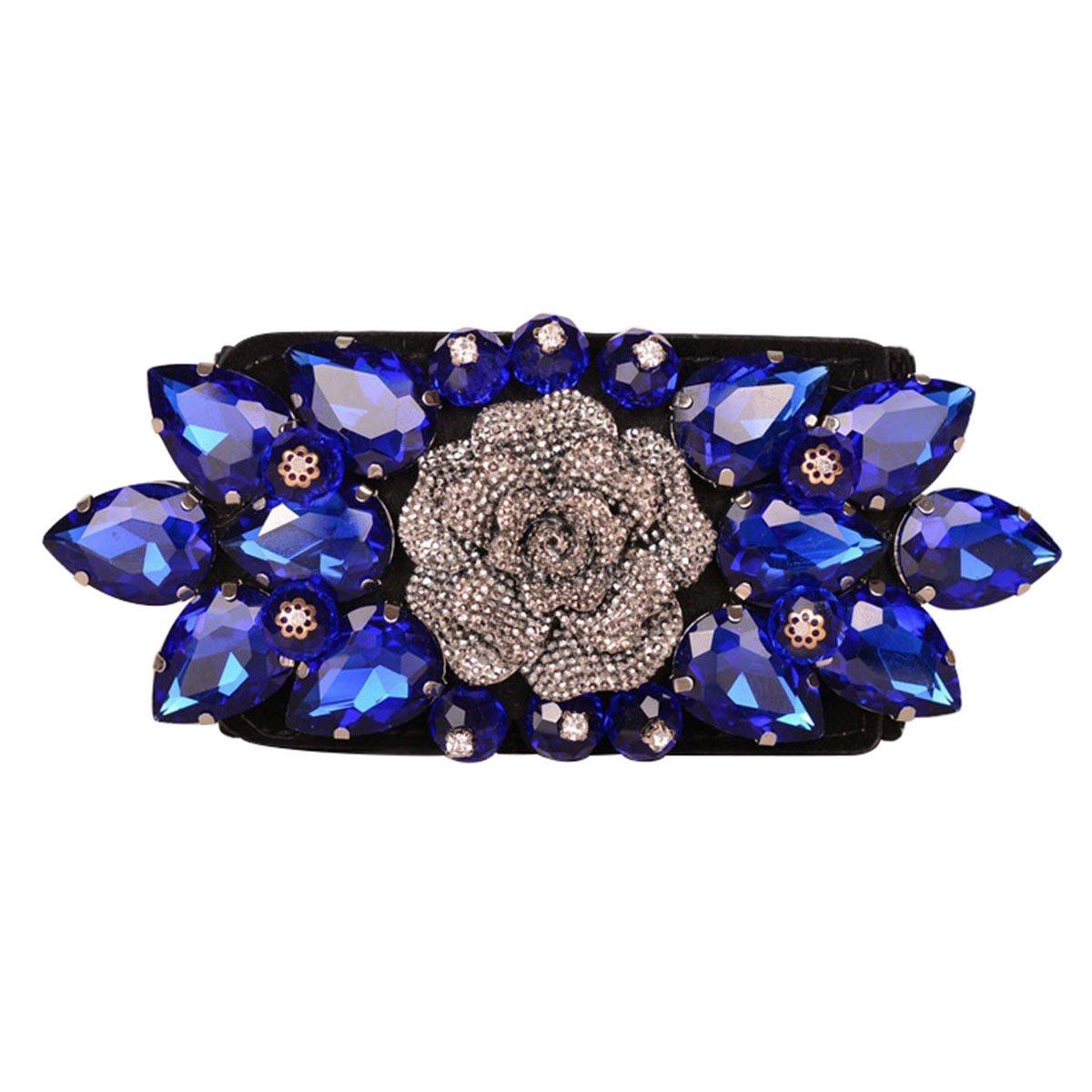 E-Clover Fashion Floral Rhinestone Buckle Women's Elastic Waist Cinch Belt for Dress (Sapphire)