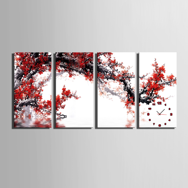 E-HOME 赤い梅の花 時計壁時計壁掛け時計飾り時計個性掛け時計 個性的な装飾画 インテリア絵 壁面装飾 飾り絵 (40x80cm*4pcs) B074YLQPB640x80cm*4pcs