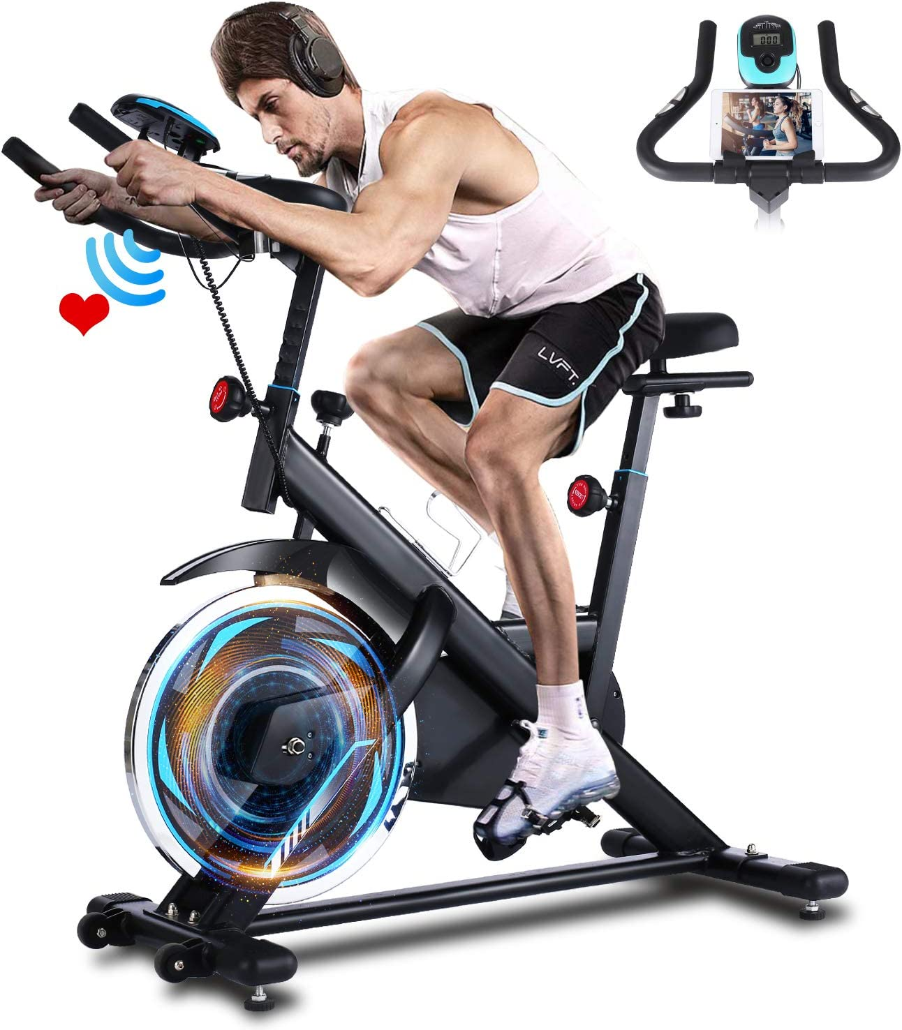 ANCHEER Heimtrainer, Indoor Cycling Bike Fitnessbike Mit Herzfrequenzmonitor & LCD Monitor