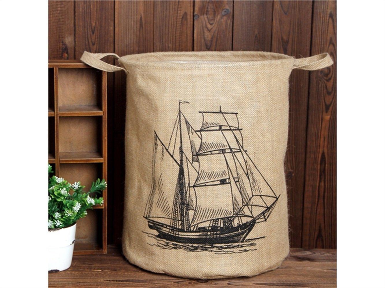 Gelaiken Lightweight Sailboat Pattern Tote Storage Basket Storage Bag Cotton and Linen Storage Box Sundries Storage Bucket(Light Brown)