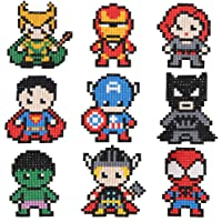 COLEEY Diamond Painting Stickers Kits for Kids,5D Hero Diamond Art Mosaic Stickers by Numbers Kits - 9 Pieces