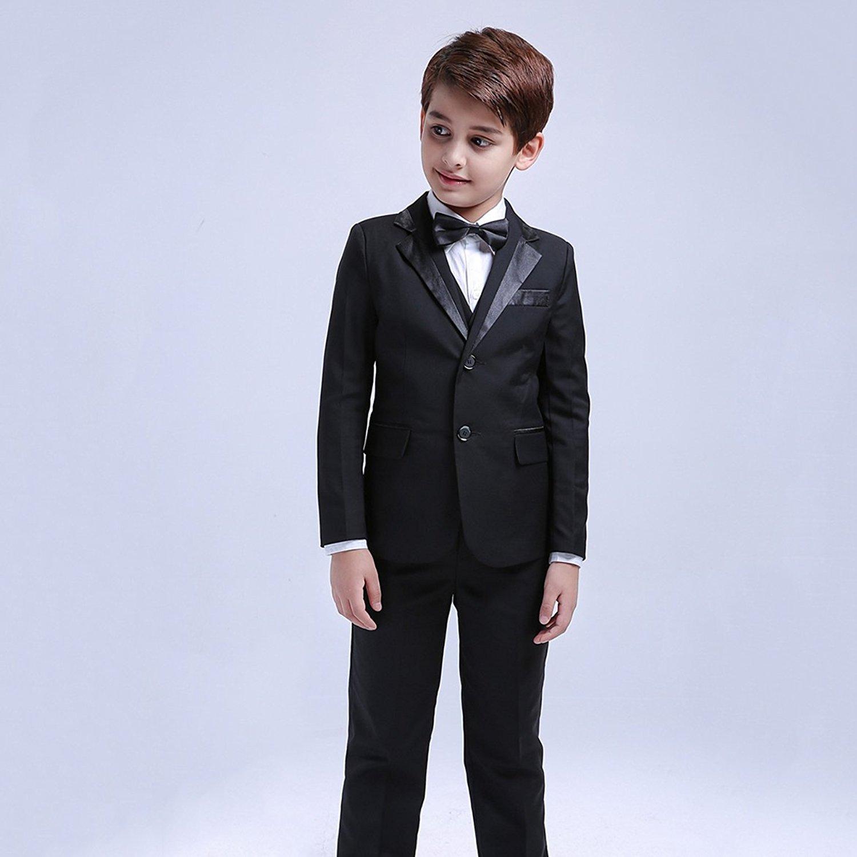 4a5afe0a2 5 piezas niños Blazer formal niños Smoking chaleco chaleco traje de fiesta  negro  Amazon.es  Ropa y accesorios