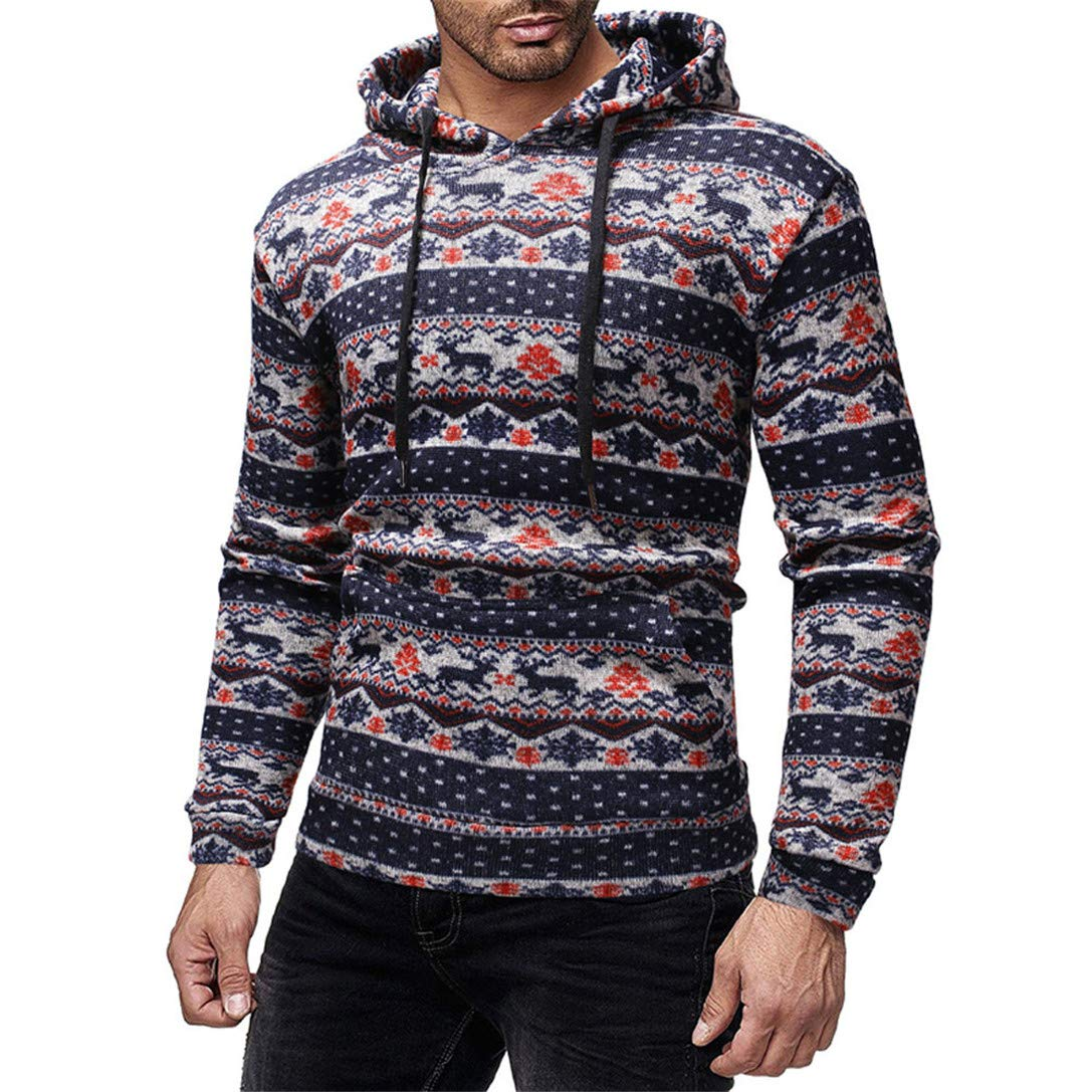 FRCOLT Mens Merry Christmas Graphic Long Sleeve Casual Pullover Knitted Hoodies