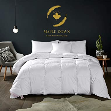 Maple Down Queen Size Comforter White Goose Down Comforters for All Season with Cotton Soft Shell Hypoallergenic Hotel Quality Duvet Insert 90 x 90 inches