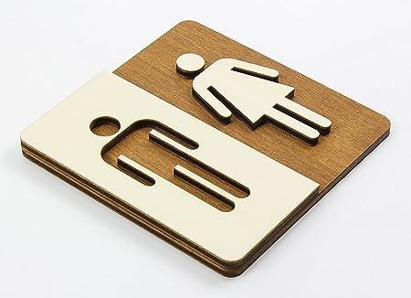 Manschin Laserdesign WC Cartel Madera de WC Cartel para Puerta Cartel Mujer Hombre Pictograma, Madera, Individuell, Nussbaum Dunkel 14x14cm