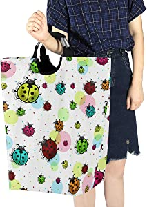 ALAZA Beautiful Colorful Ladybugs Large Laundry Hamper Bag Collapsible with Handles Waterproof Durable Clothes Round Washing Bin Dirty Baskets Organization for Home Bathroom Dorm College