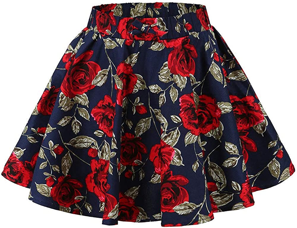 J·E Sterguard Girls Floral Skirts Pleated Skater Skirt Flower Patterned  Vintage Polka Dots Full Circle Skirt: Amazon.ca: Clothing & Accessories
