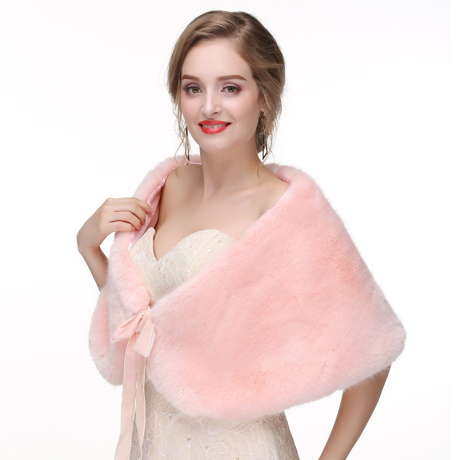 Wedding Faux Fur Wraps and Shawls Wedding Bridal Stole for Brides and Bridesmaids Ivory Fox Fur