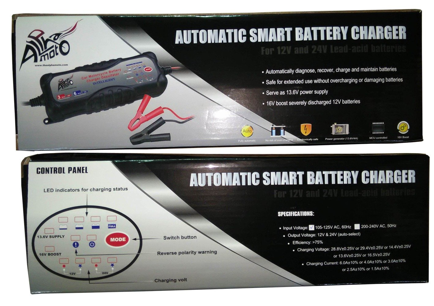 Alpha Moto Alphamoto 7 Stage 12v Automatic Motorcycle Battery Desulphation Progress Monitor Car Truck Vehicles Atv Cross Boats Trucks Cars Water Craft Golf Carts Lawn Mower Smart Charger Tender Maintainer Automotive