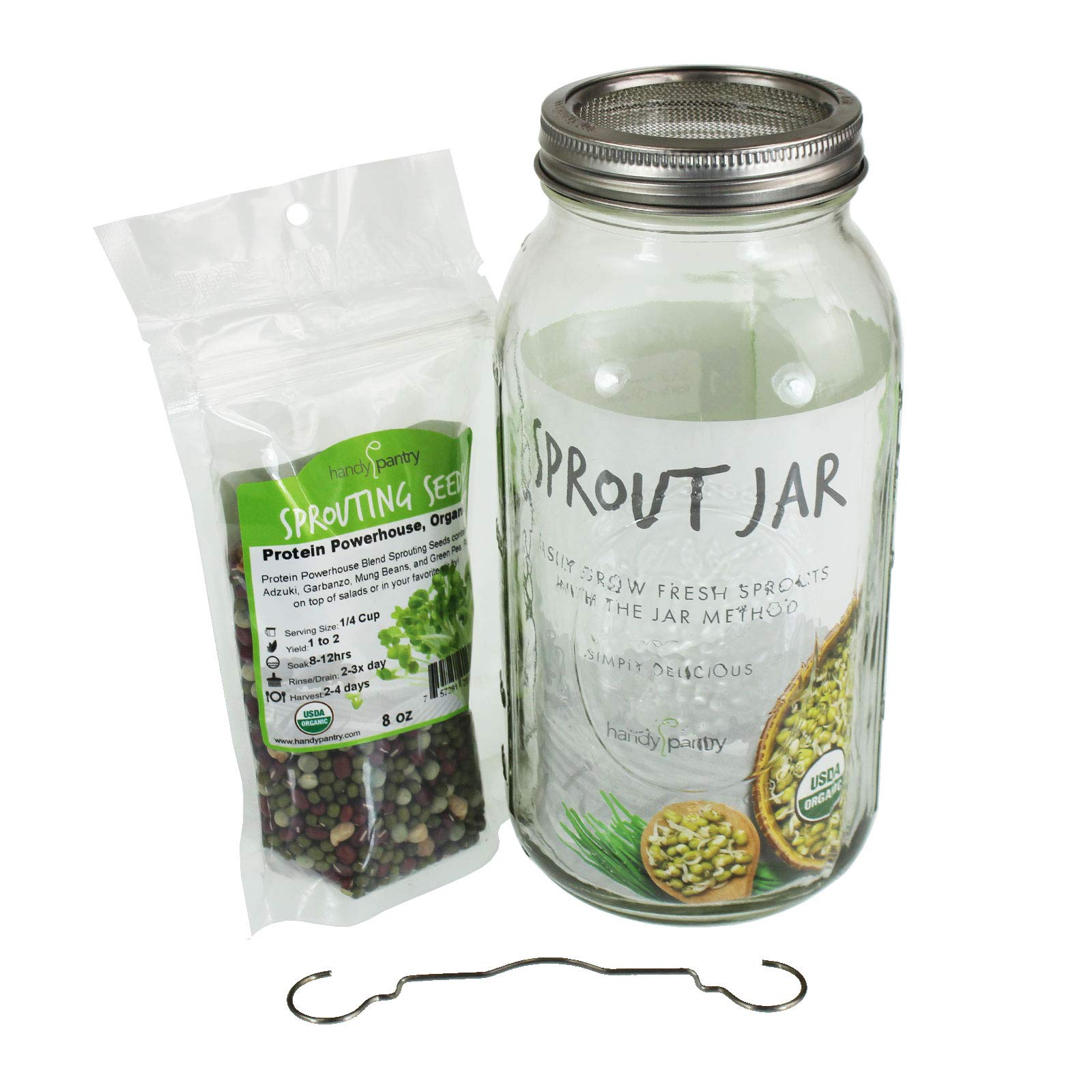 Complete home kitchen sprouting system Includes wide mouth half gallon jar, 316 stainless steel sprouting ring with mesh strainer, a counter drain stand, Protein Powerhouse,organic sprouting seed mix
