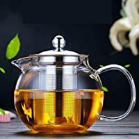 1350ml Glass Teapot with Removable Infuser Glass Tea Maker Infusers Holds 1-2 Cups Loose Leaf Iced Blooming or Flowering Tea Filter Stovetop Safe Teapot Kettle
