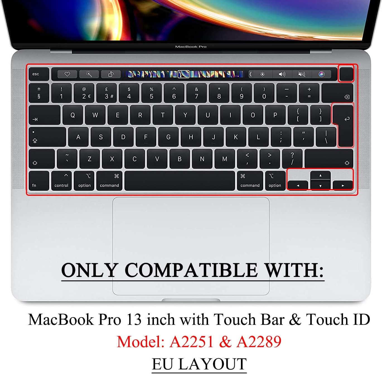 Funda para teclado de TPU para MacBook Pro de 13 pulgadas A2251 A2289 2020 con Touch Bar /& Touch ID versi/ón EU Ultra delgada MasiBloom/®