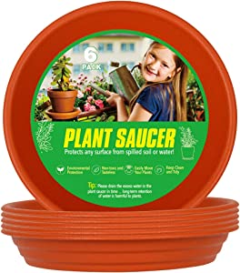 XOV Plant Saucer 8 Inch Trays Flower Pot Heavy Duty Plastic Drip Tray for Indoor Outdoor Garden Planter Accessories (Brick red 8 inch)