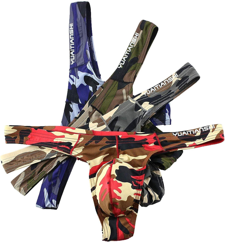 CSMARTE Mens Cool Camouflage Thong Underwear,Hot Low Rise Mens Thong G-String Bikini Briefs