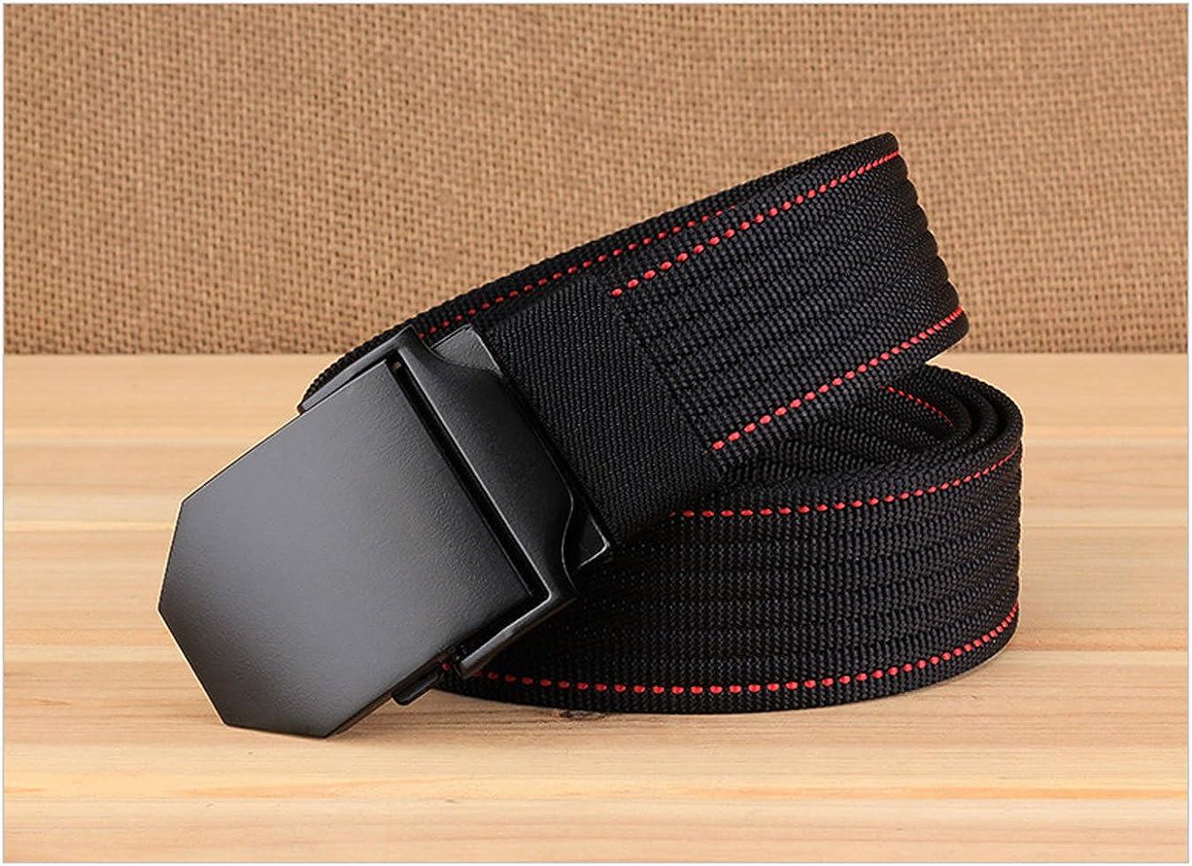 E-Clover Mens Dress Nylon Canvas Black Plaque Buckle Belt Military Tactical Web Belts