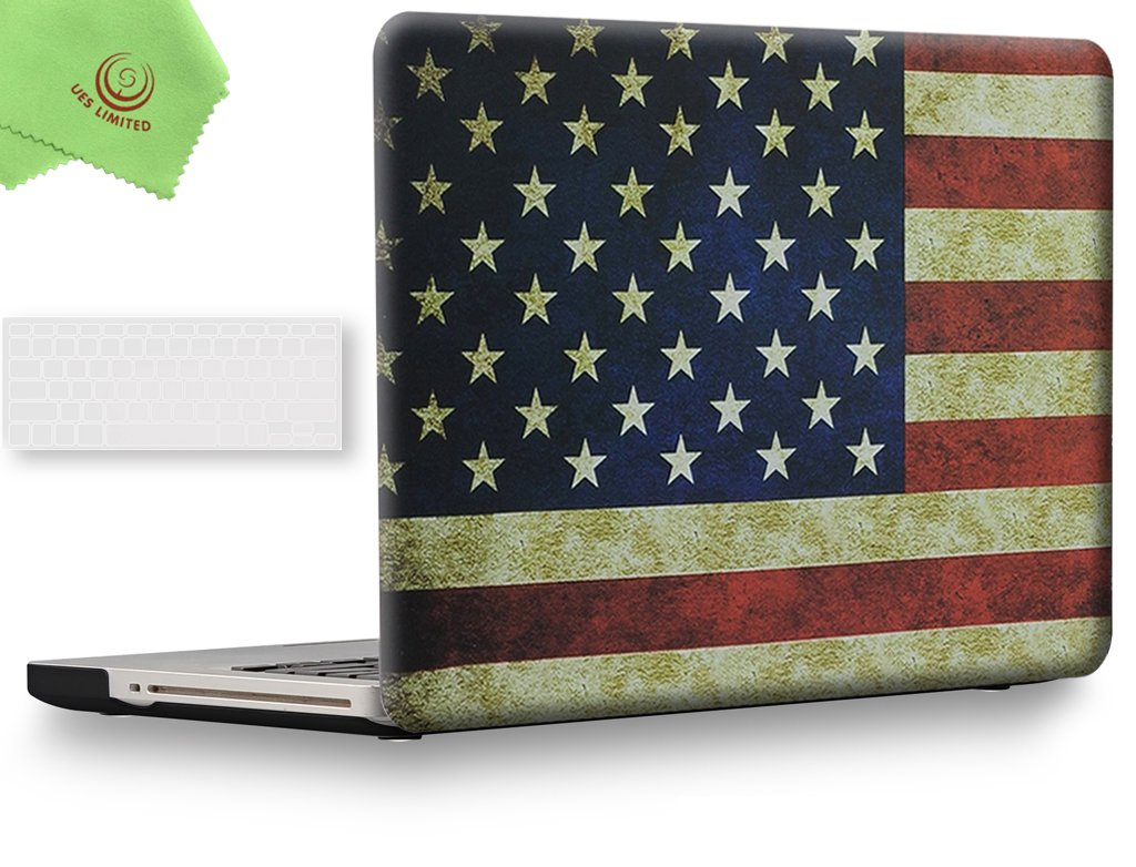 UESWILL 2in1 Unique Pattern Matte Solid Hard Shell Case with Clear Keyboard Cover for MacBook Pro 15'' with CD-ROM (Non-Retina)(Model: A1286) + Microfibre Cleaning Cloth,US Flag