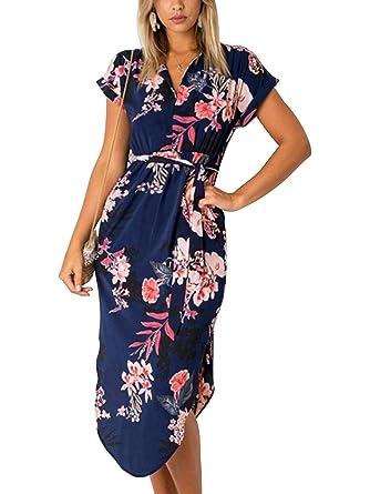 YOINS Sommerkleid Damen Tshirt Kleid V-Ausschnitt Kurzarm Minikleid Kleider  Langes Shirt Lose Tunika Knielang Strandmode  Amazon.de  Bekleidung ce235f7c05