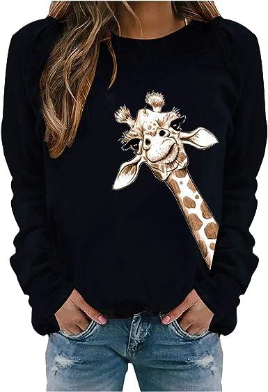 Womens Long Sleeve Giraffe Print Jumper Sweatshirt Casual Loose Pullover Tops