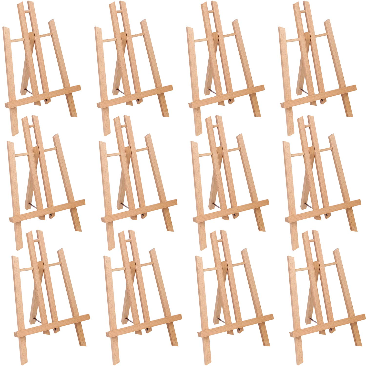 12 Pcs 11'' Tall Tabletop Easel - Small Solid Beech Wood Easel Painting Display Easel, Hold Canvas Art up to 11'' High by ATWORTH