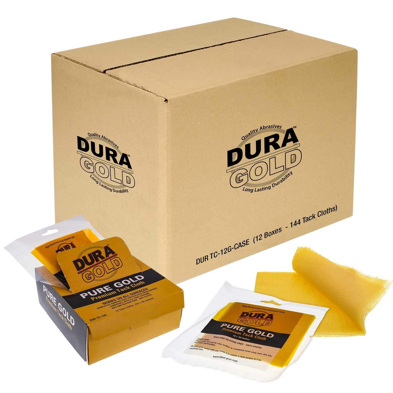 Dura-Gold Pure Gold Premium Tack Cloths - Wax & Silicone Free, Anti Static - Case of 144
