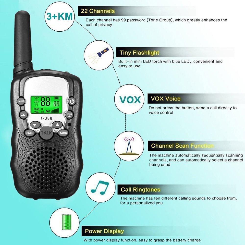 Joyjam Toys for 3-12 Year Old Boys Kids Walkie Talkies 2 Miles Long Range Kids Outdoor Games Birthday Gifts for 5-8 Year Old Boys Black - 1 Pair by Joyjam (Image #4)