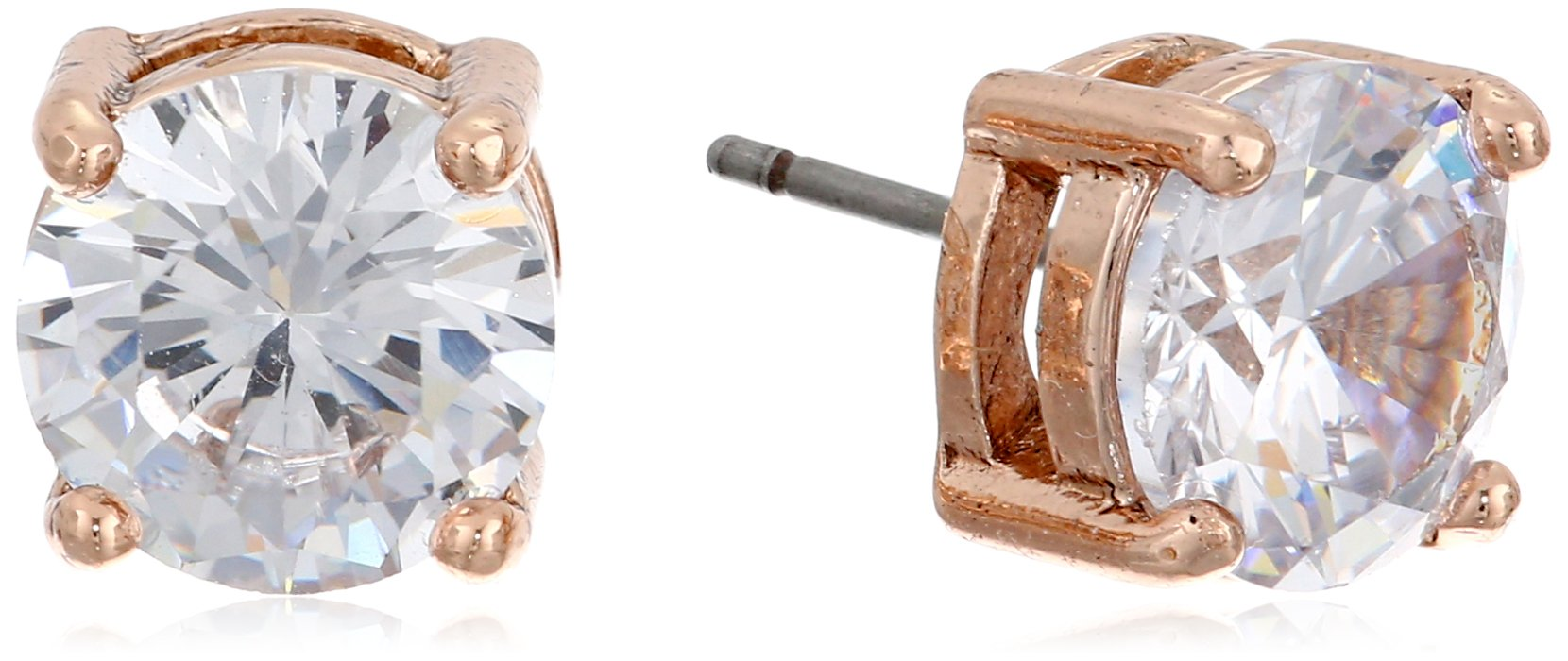 Anne Klein''Classic Rose'' Rose Gold-Tone Crystal Stud Earrings