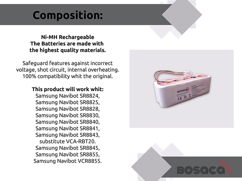 Bosaca Samsung Batería de Repuesto 3500 mAh Navibot Series SR8844, SR8845, SR8846, SR8847, SR8848, SR8849, SR8850, SR8855 - Garantía 24 Meses Oficial: ...