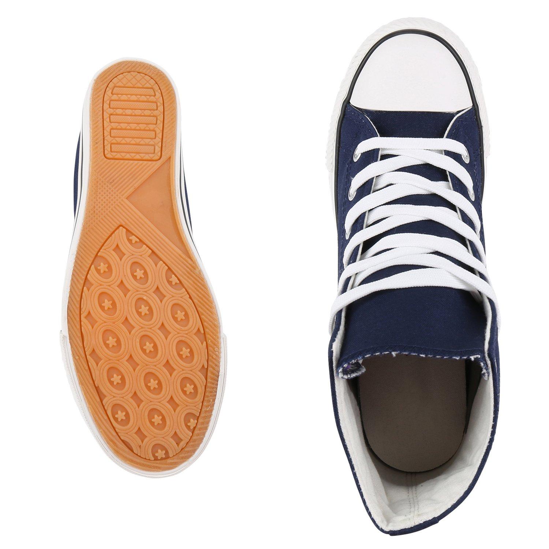 schuhe VITA Damen Basic Sneaker Wedges mit Keilabsatz Basic Damen Dunkelblau Weiß 48b559