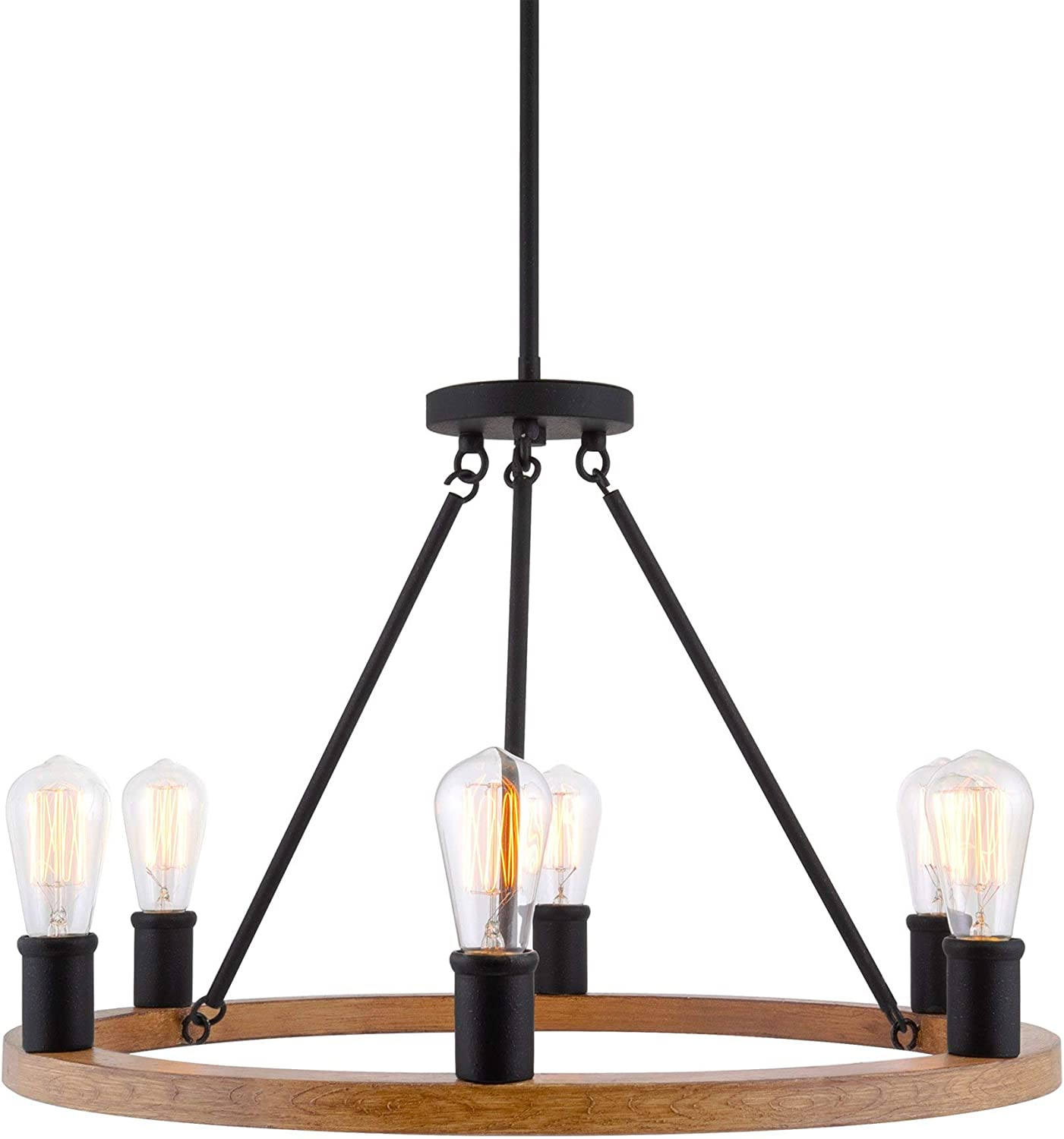 Kira Home Jericho 25 6 Light Large Rustic Farmhouse Wagon Wheel Chandelier Round Kitchen Island Light Textured Black Accents Warm Oak Wood Style Finish