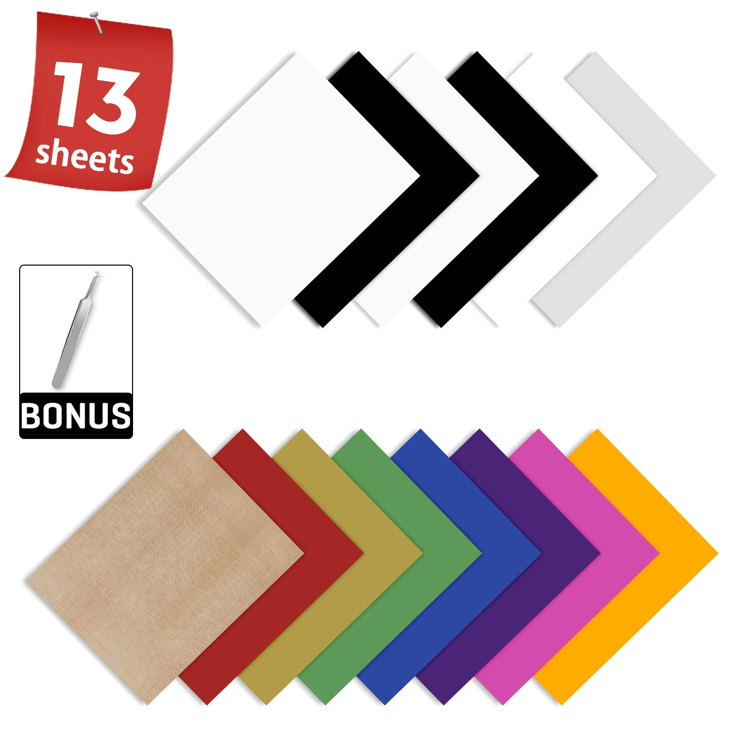 13 Sheets 12 x 10 Iron on Vinyl for T-Shirt HTV Heat Transfer Vinyl Bundle Silhouette Cameo or Heat Press Machine 10 Assorted Colors with HTV Accessories Tweezers for Cricut
