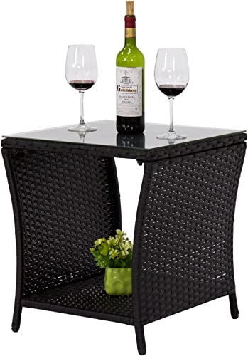 kinbor Black Outdoor Square Wicker Rattan Side Coffee Table w Glass Top Patio Furniture with Storage Shelf