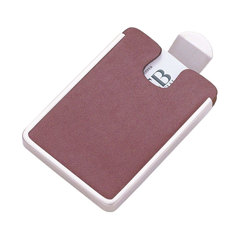 Executive Brown Leather Card Case with Satin Pearl Clip