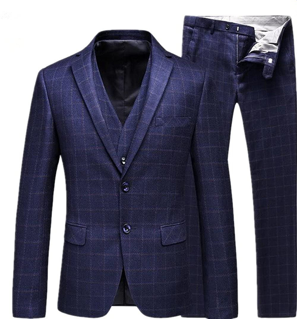 Suxiaoxi Mens Formal Plaid 3 Pieces Business Tuxedo Suits 2018 New