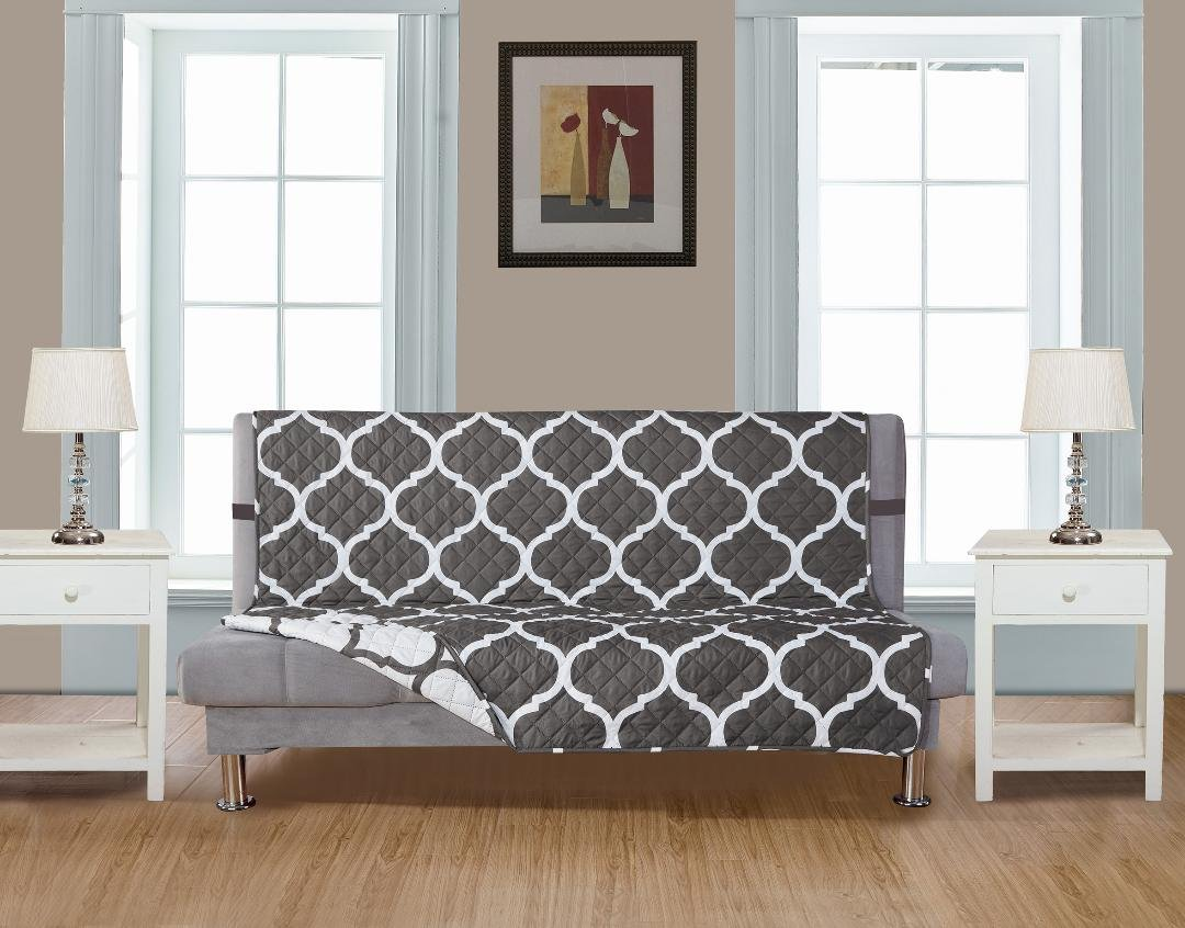 GrandLinen Reversible Couch Cover 110'' X 76''-Furniture Protector for Pets, Kids, Dogs-Large Sofa, Standard Sofa, Loveseat, Futon Recliner and Arm Chair (FUTON-Grey/White Quatrefoil)
