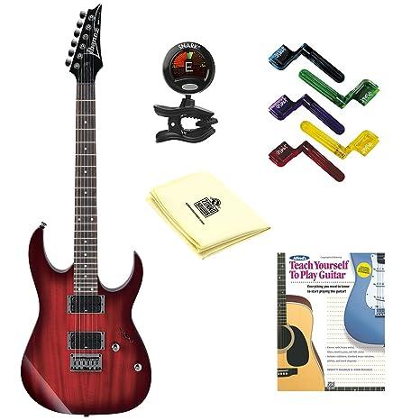 Ibanez rg421 guitarra eléctrica Blackberry Sunburst con gamuza de limpieza, pegwinders, sintonizador, y
