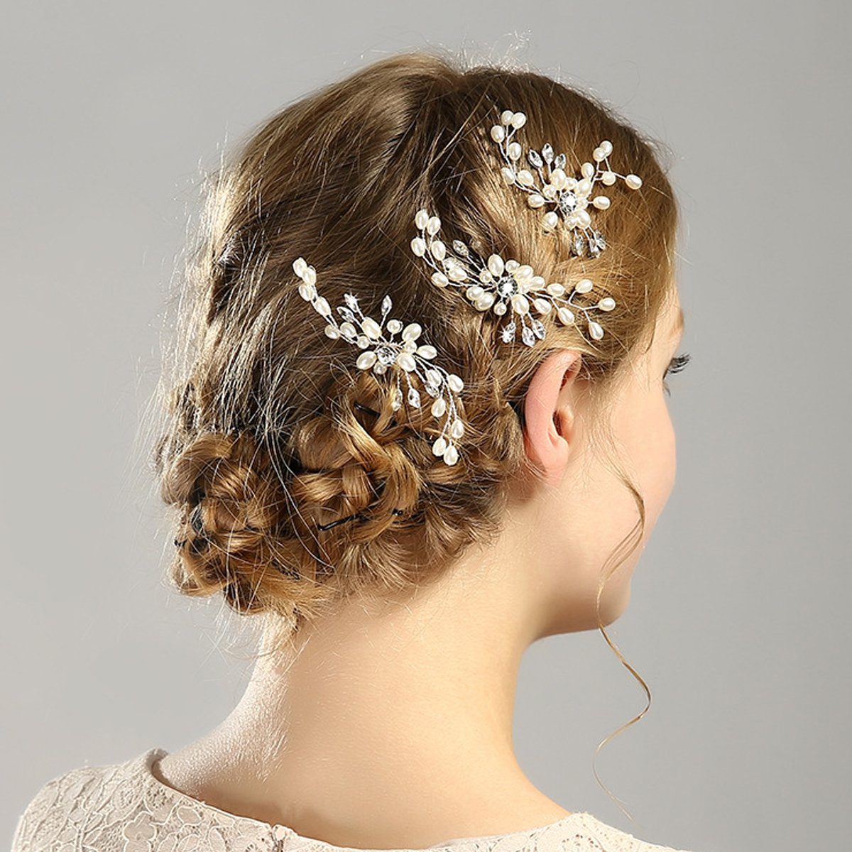 Ouinne 3pcs Horquillas de Perlas y Diamantes de Imitación Elegantes para Novia Accesorios de pelo Pinza para Cabellopara Bodas Fiestas