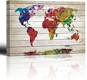 "wall26 - Watercolor World Map Rustic Painting - Canvas Art Wall Decor - 16""x24"""