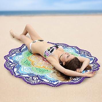 Rund Große Fleur De Lotus Strandtuch Deckung Strand Tischdecke Mit