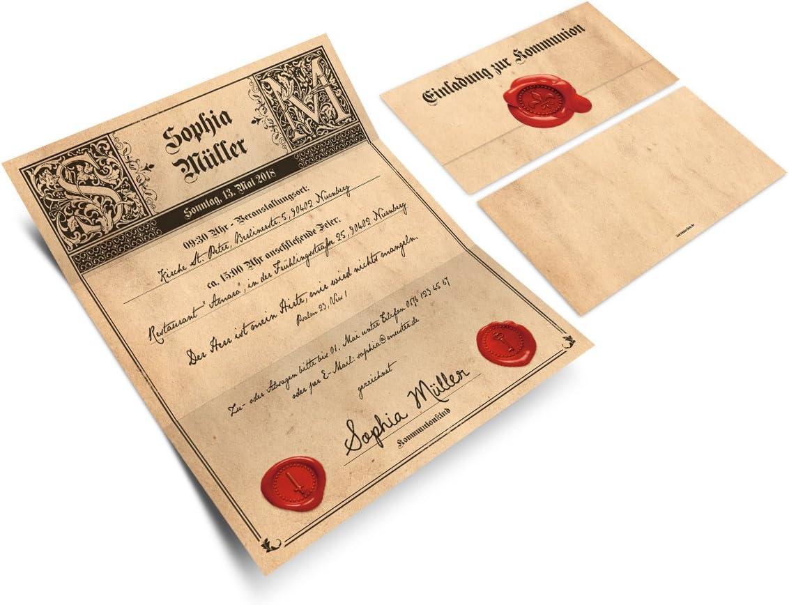 - Fotoschrift Kommunion Einladungskarten Kommunionskarten Einladung Klappkarten 20 St/ück